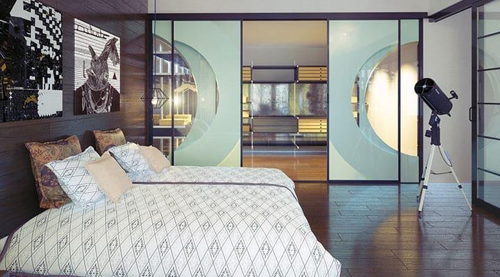 Ściana szklana w sypialni